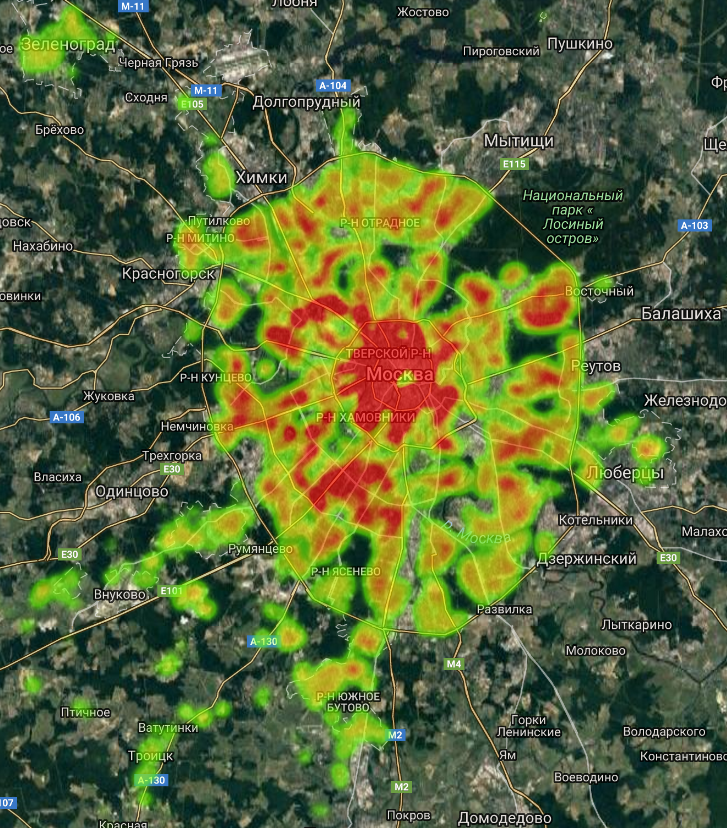 Heat map of residential real estate cost in Moscow